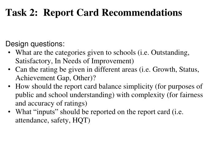 Task 2:  Report Card Recommendations
