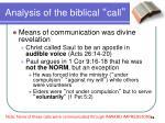analysis of the biblical call