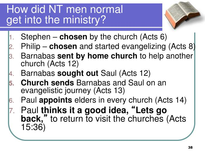 How did NT men normal get into the ministry?