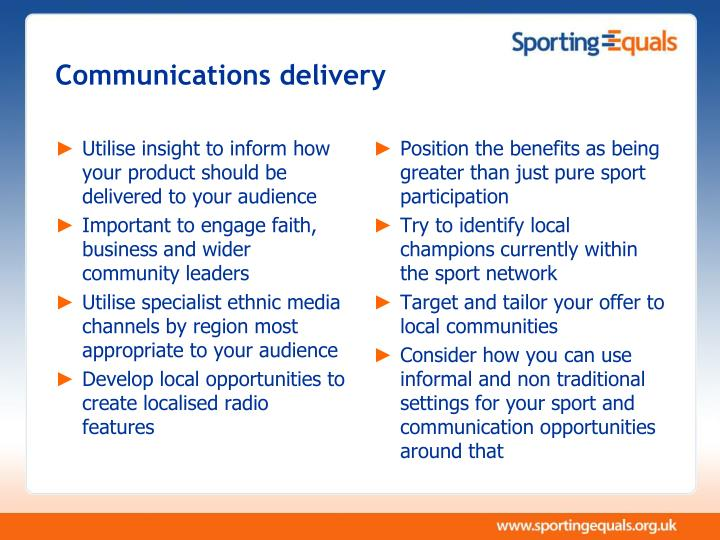 Communications delivery