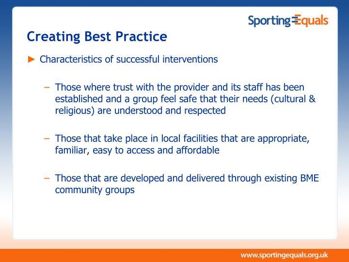 Creating Best Practice