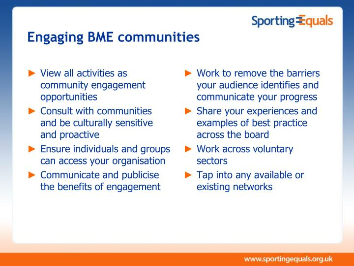 Engaging BME communities