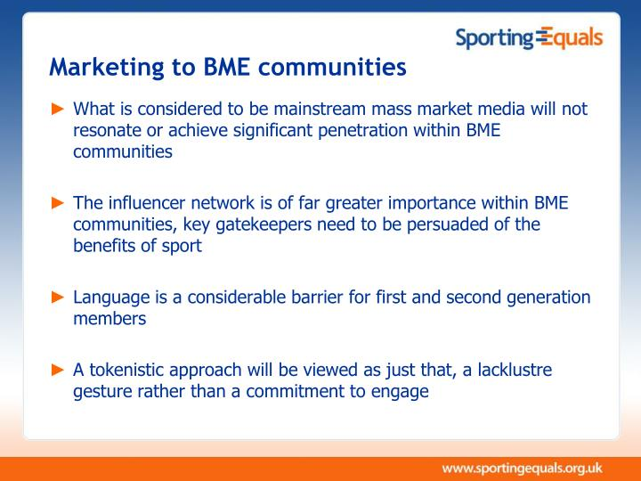 Marketing to BME communities