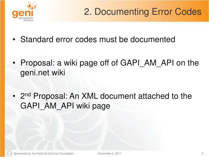 2. Documenting Error Codes