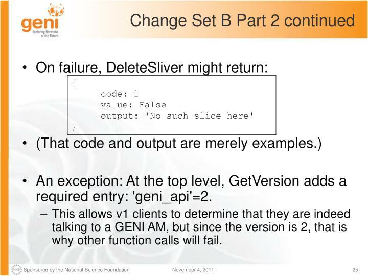 Change Set B Part 2 continued