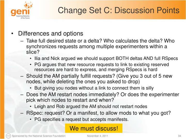 Change Set C: Discussion Points
