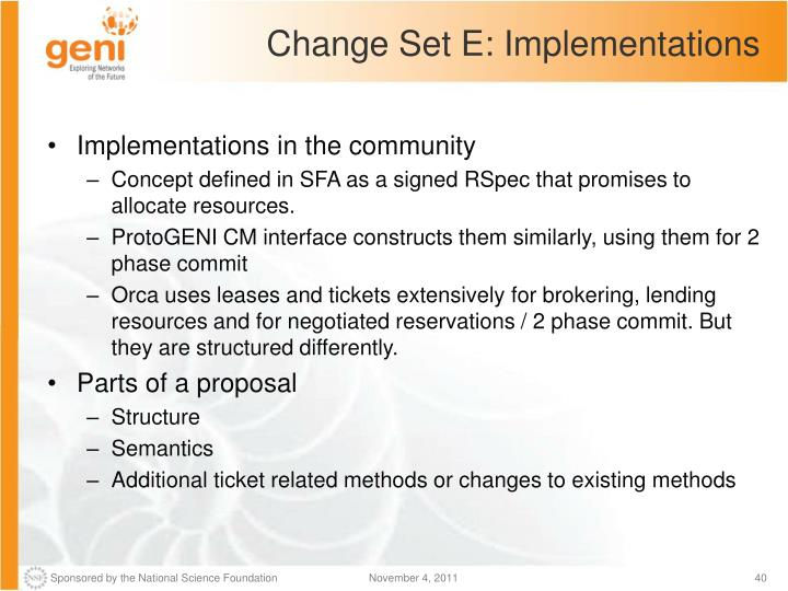 Change Set E: Implementations