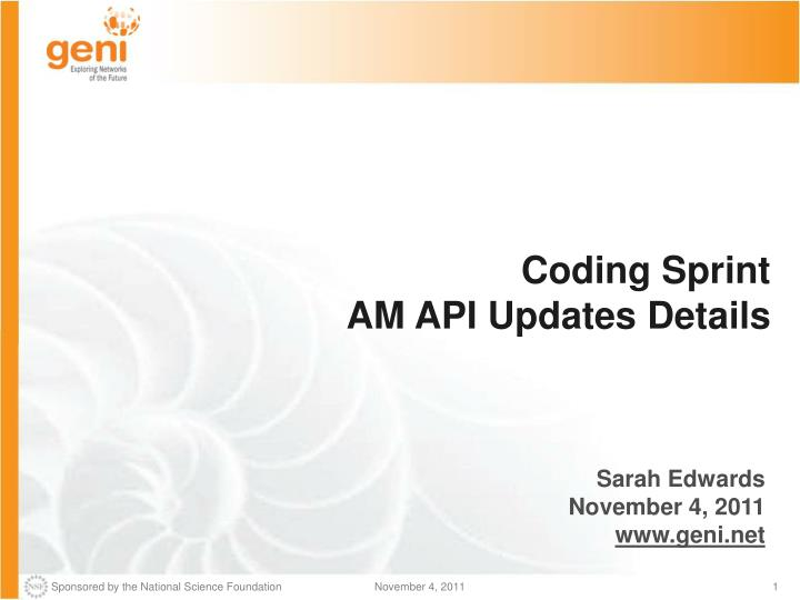 Coding sprint am api updates details