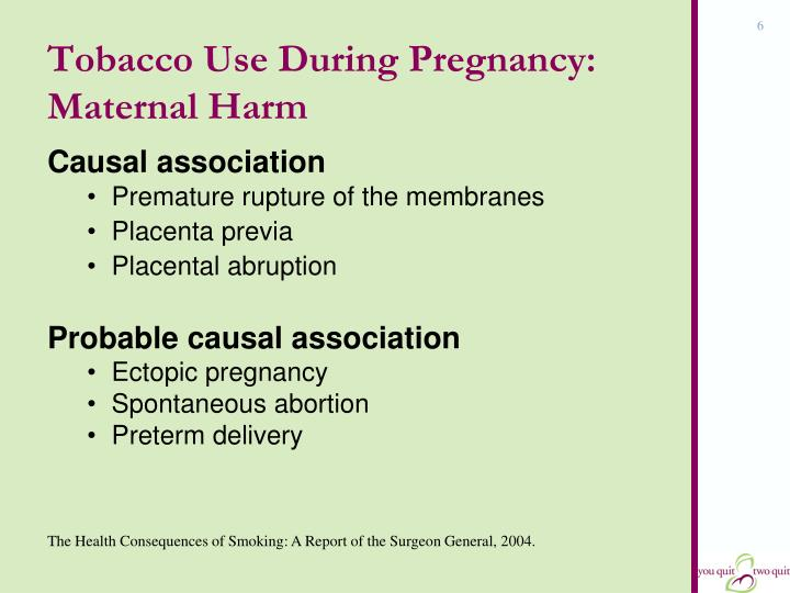 Tobacco Use During Pregnancy: Maternal Harm