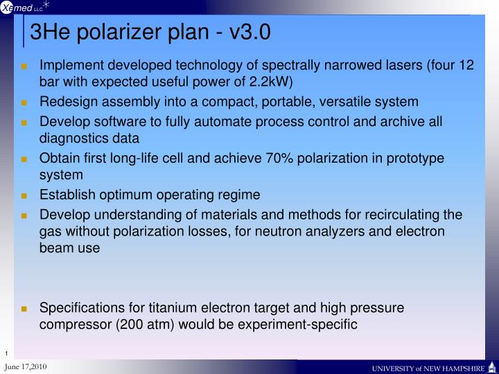 3He polarizer plan - v3.0