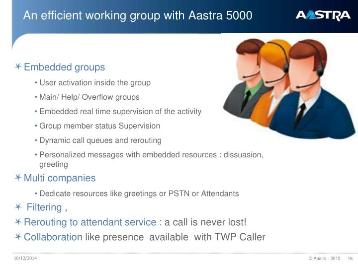 An efficient working group with Aastra 5000
