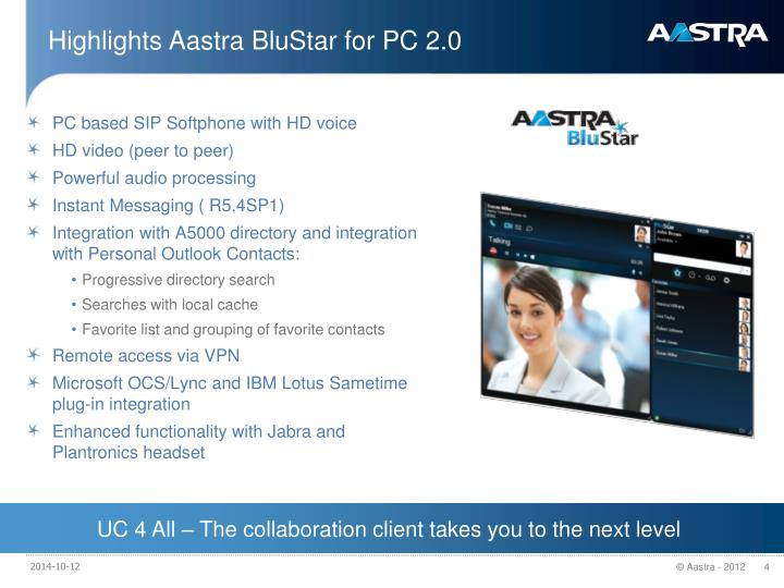 Highlights Aastra BluStar for PC 2.0