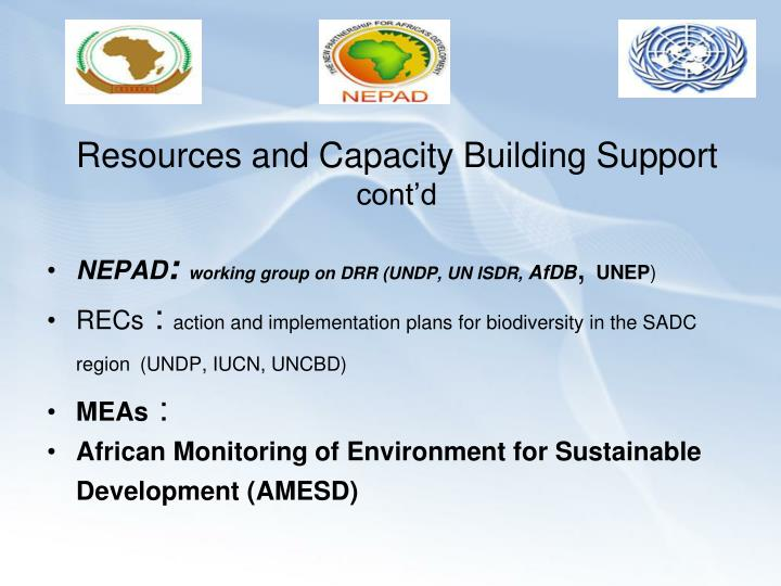 Resources and Capacity Building Support
