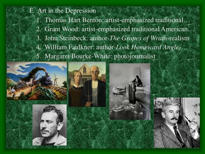 F.  Art in the Depression