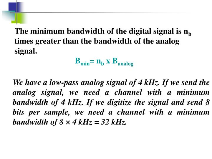The minimum bandwidth of the digital signal is n
