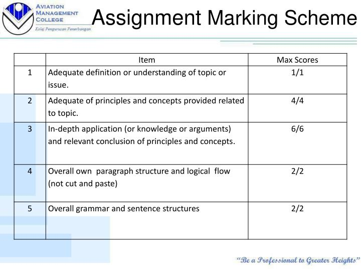 Assignment marking scheme