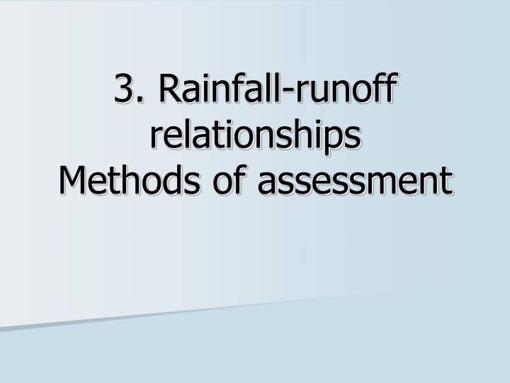 3 rainfall runoff relationships methods of assessment