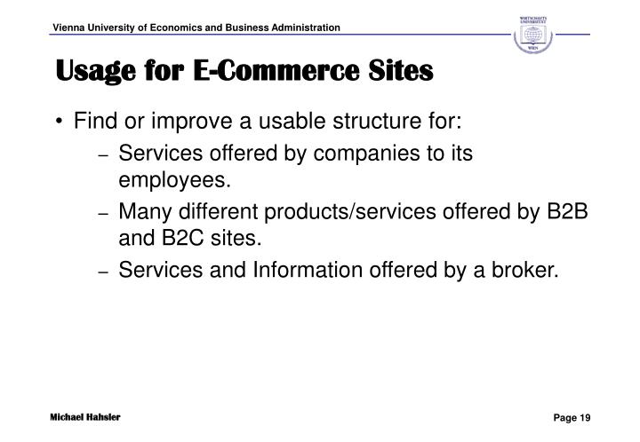 Usage for E-Commerce Sites