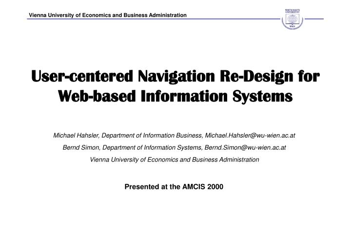 User centered navigation re design for web based information systems