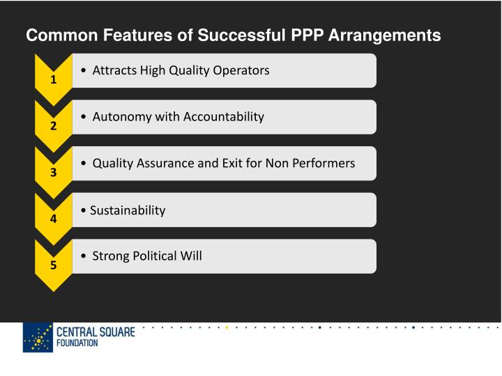 Common Features of Successful PPP Arrangements