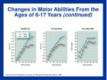 changes in motor abilities from the ages of 6 17 years continued