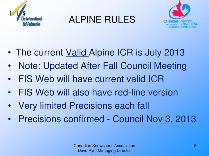 ALPINE RULES