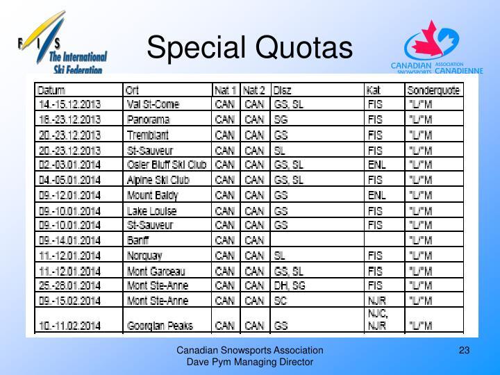 Special Quotas