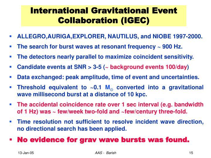 International Gravitational Event Collaboration (IGEC)