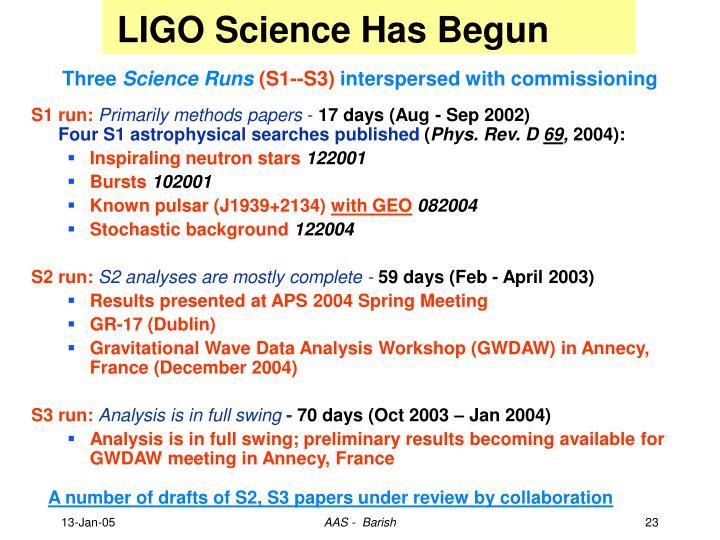 LIGO Science Has Begun