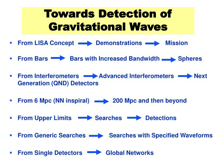 Towards Detection of Gravitational Waves