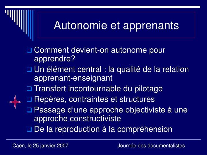 Autonomie et apprenants