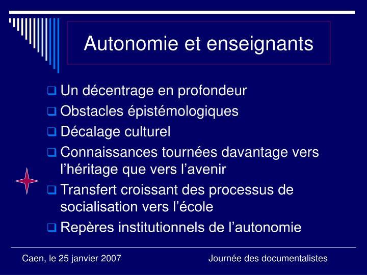 Autonomie et enseignants