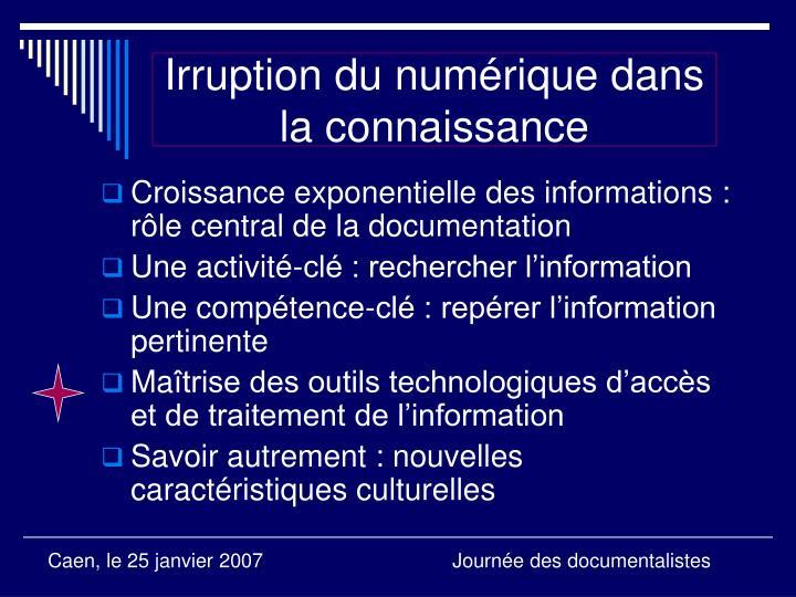 Irruption du numérique dans la connaissance