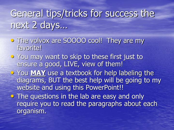 General tips/tricks for success the next 2 days…