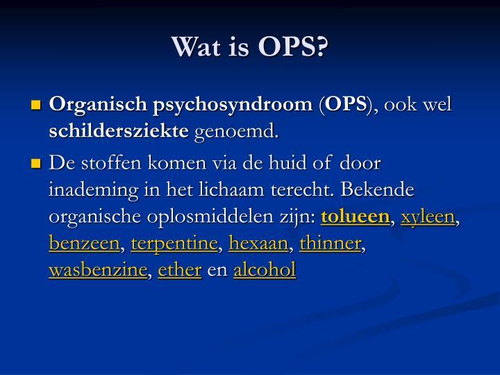Wat is OPS?