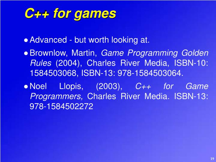C++ for games