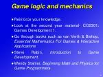 game logic and mechanics