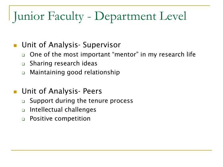 Junior Faculty - Department Level