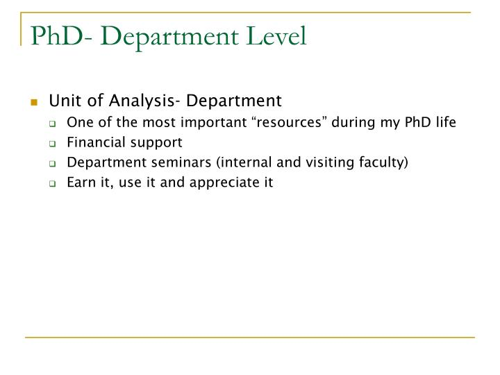 PhD- Department Level