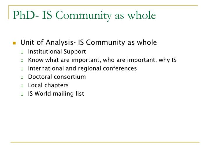 PhD- IS Community as whole