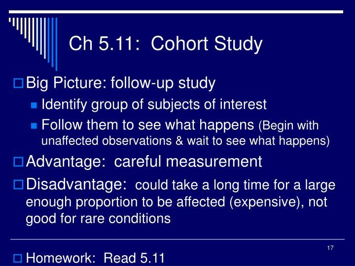 Ch 5.11:  Cohort Study