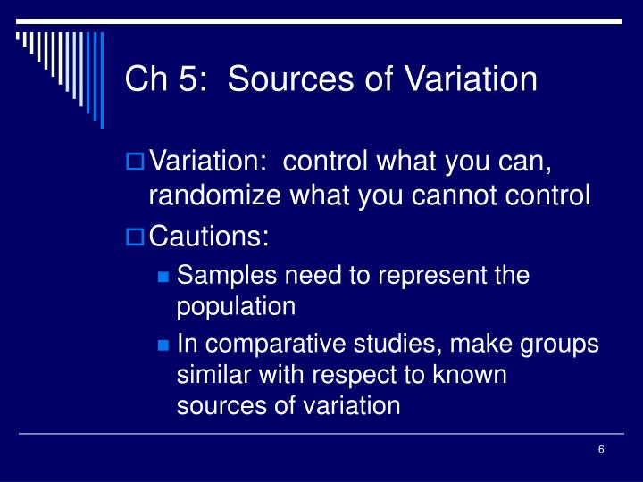 Ch 5:  Sources of Variation