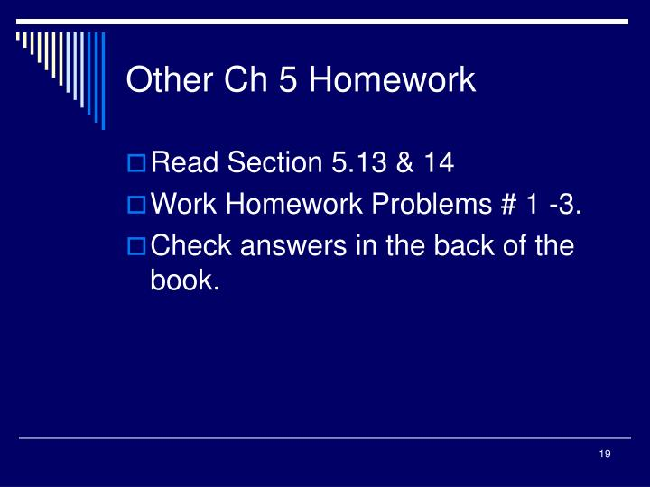 Other Ch 5 Homework