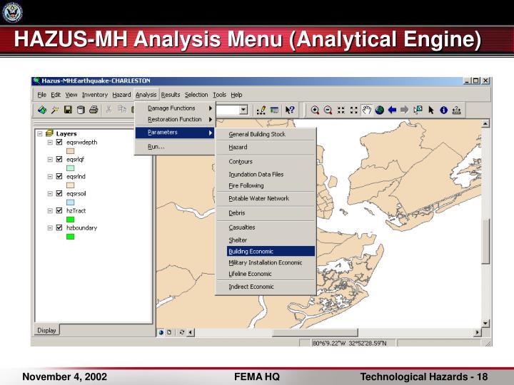 HAZUS-MH Analysis Menu (Analytical Engine)