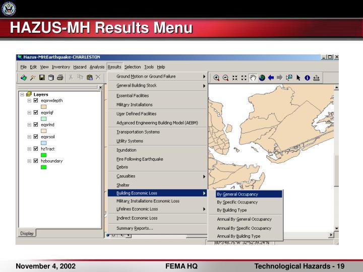 HAZUS-MH Results Menu