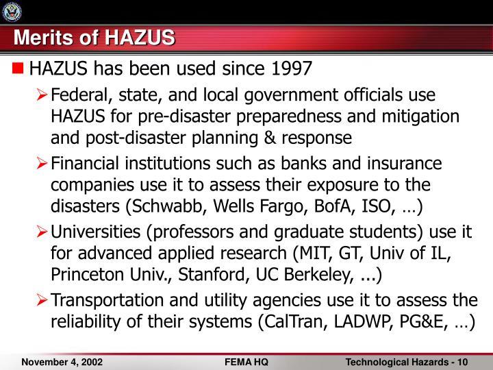 Merits of HAZUS