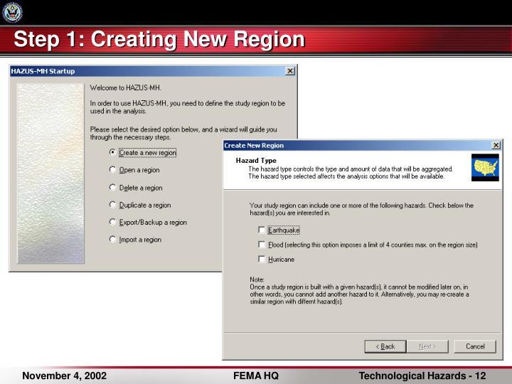 Step 1: Creating New Region