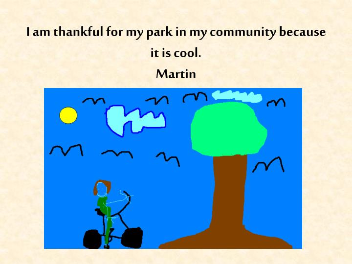 I am thankful for my park in my community because it is cool.