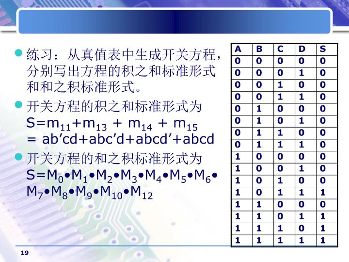 练习:从真值表中生成开关方程,分别写出方程的积之和标准形式和和之积标准形式。