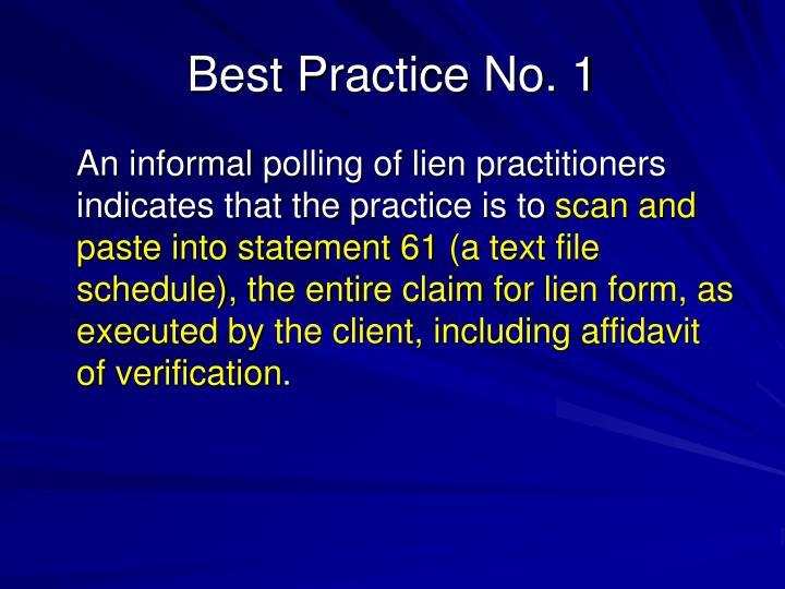 Best Practice No. 1
